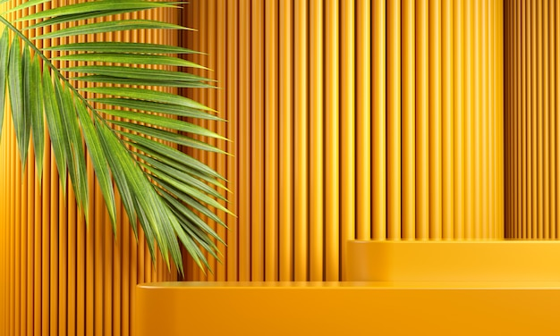Modern mockup yellow platform for branding presentation product with palm leaf and abstract background