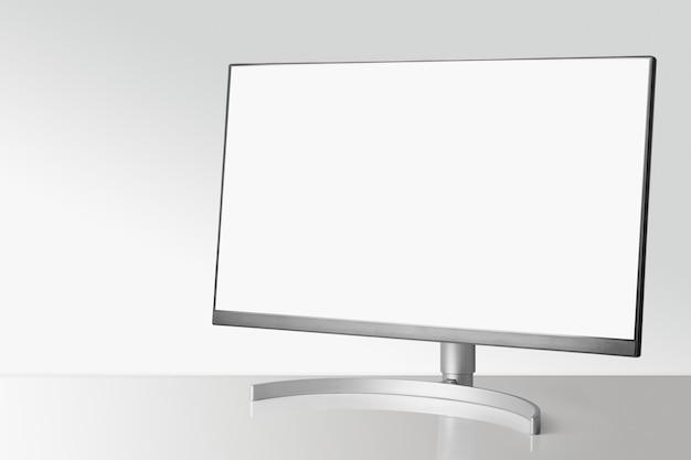 흰색 테이블과 빛에 현대 모니터