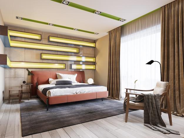 Современная разноцветная спальня с полками на стене с зеленой подсветкой под матовым стеклом, кожаная кровать красного цвета с прикроватными тумбочками. 3d рендеринг