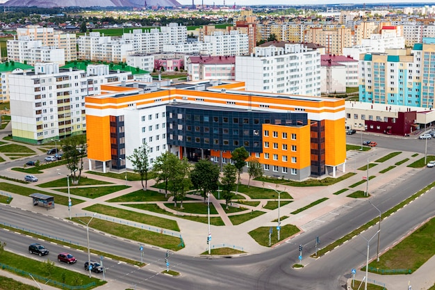 Modern multi-storey residential area. mortgage lending for a young family. belarus. soligorsk.