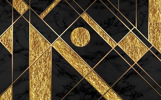 현대 벽화 벽지 황금 라인과 어두운 대리석 배경 3d 벽 현대 프레임 인쇄