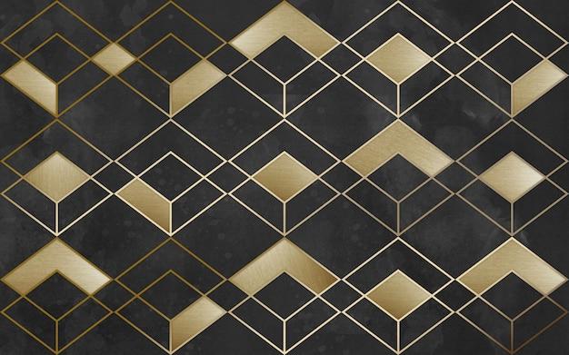 Modern mural wallpaper  golden lines geometric forms in dark background  for interior home decor