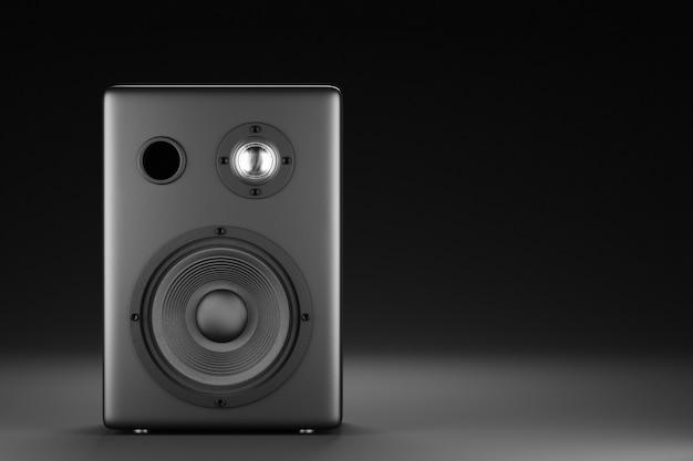Колонка современной музыки в черном на темном фоне. музыкальная колонка для вашего дизайна. 3d-рендеринг.