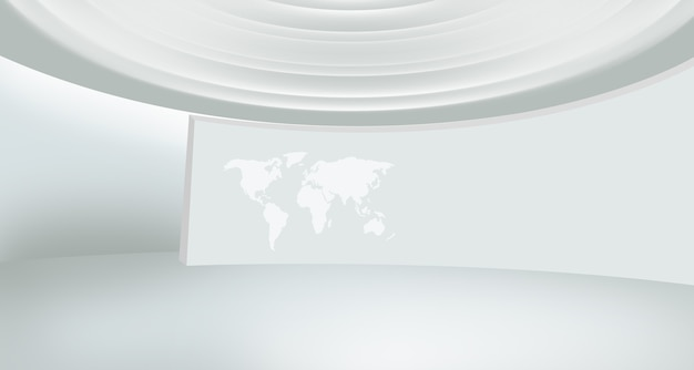 Modern news studio space with world map on curve wall