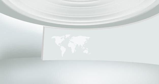 カーブの壁に世界地図があるモダンなニューススタジオスペース