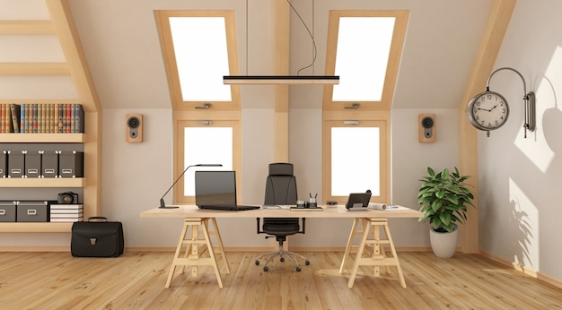 Modern office in the attic with wooden desk, bookcase and two windows. 3d rendering