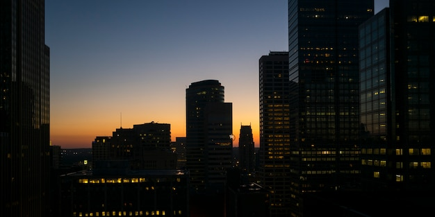 Modern office buildings at dusk in downtown minneapolis, hennepin county, minnesota, usa