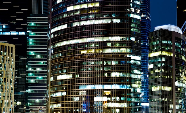 Modern office buildings in the night background