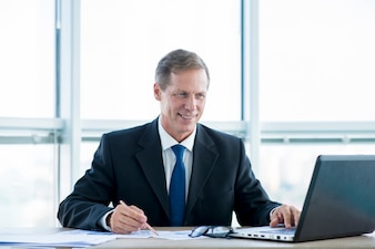 Modern office composition with businessman
