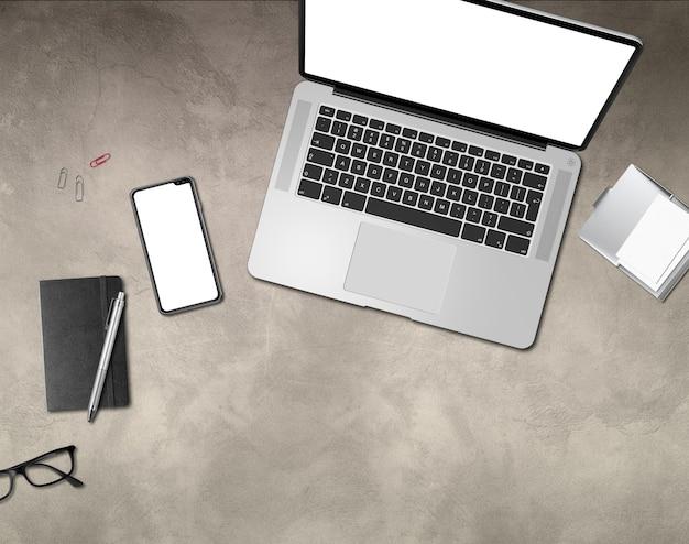 Modern office concrete desk. top view