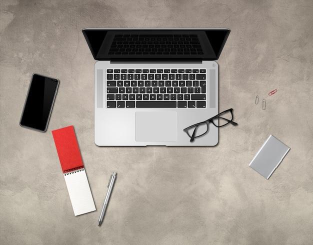 近代的なオフィスコンクリートデスク。上面図