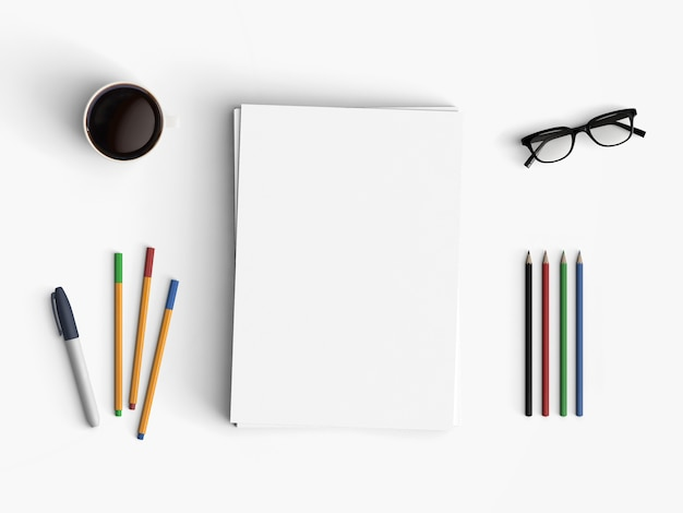 Modern office desk workplace with blank paper copy space white background.