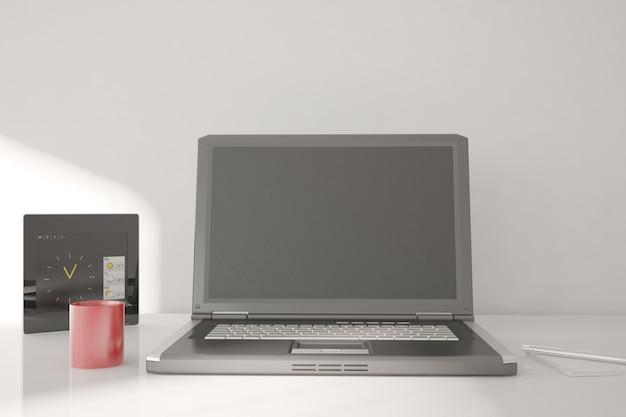 현대적인 사무실 인테리어 디자인. 3d 일러스트레이션
