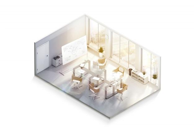 Современный дизайн интерьера офиса, изометрическая проекция
