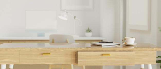 Современная офисная комната с деревянным столом и канцелярскими принадлежностями, 3d-рендеринг, 3d-иллюстрация