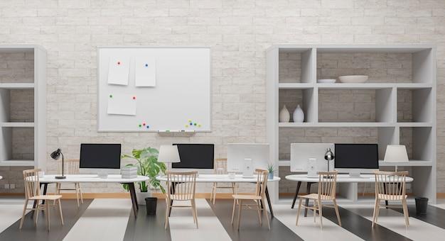 コンピューターのモックアップを備えたモダンなオフィス。黒い画面。 3dイラスト