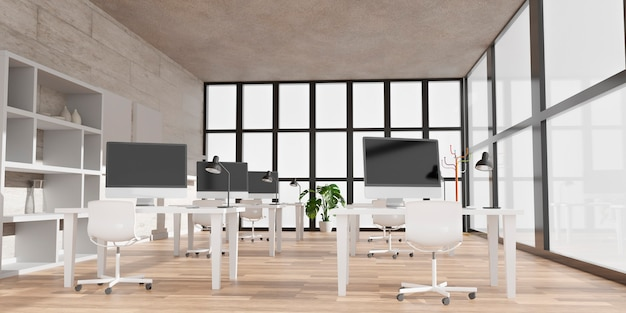 Modern office with computers