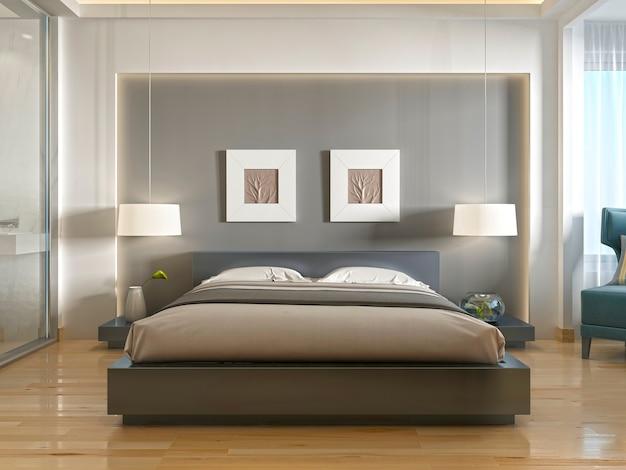 Современная одна двуспальная кровать, вид спереди, с нишей в изголовье и двумя подвесными светильниками над прикроватными тумбочками. 3d визуализация.