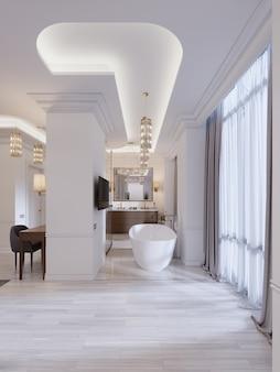 Современная открытая ванная комната в гостевой комнате с ванной и душем. 3d-рендеринг.