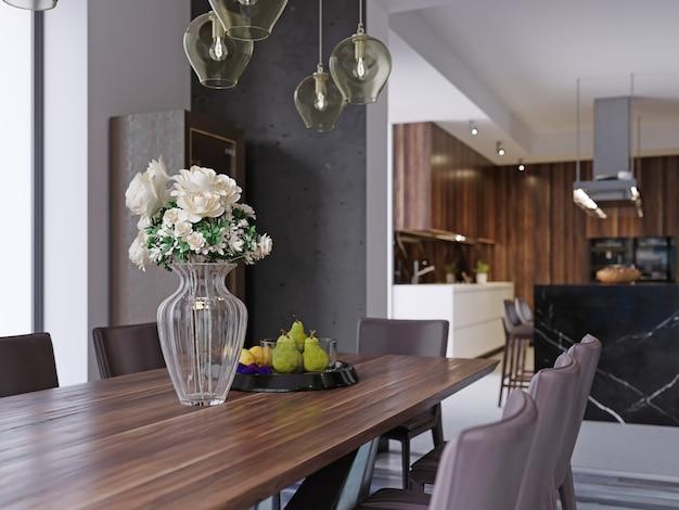 창, 주방 및 카운터가 있는 긴 방에 공식적인 장소 설정이 있는 대형 테이블이 있는 현대적인 개방형 식당 인테리어입니다. 3d 렌더링