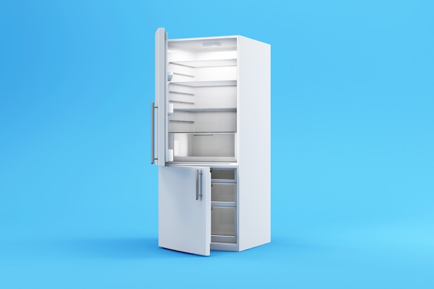 Modern opened white refrigerator on blue studio