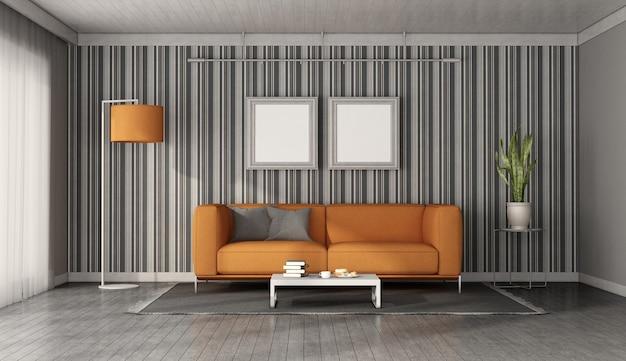 벽지와 벽 앞의 현대 오렌지 소파-3d 렌더링