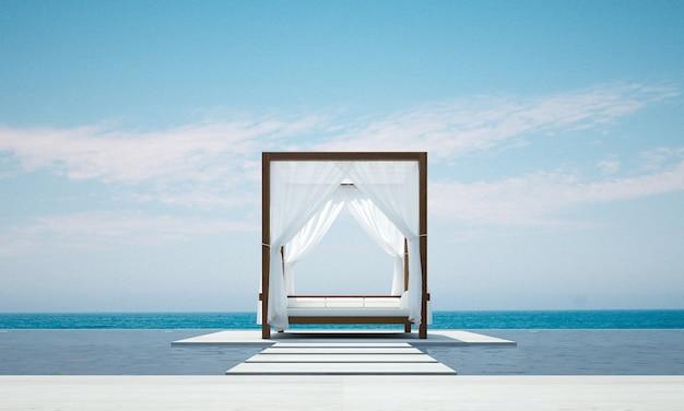 수영장과 바다 전망 배경에 현대적인 야외 라운지와 파빌리온