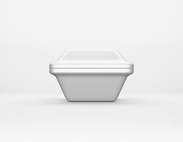 モダンなパッケージング白い背景の上の四角い箱の光沢のある金属のモックアップ。ランチ、食べ物などのサーモコンテナ。 3dレンダリング