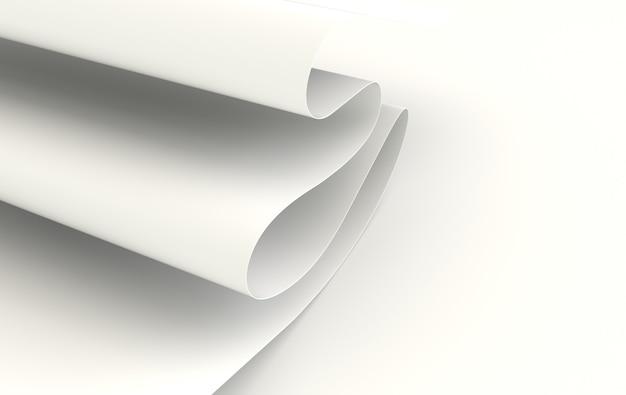 현대 종이 예술 추상적 인 배경 흰색 물결 모양의 주름