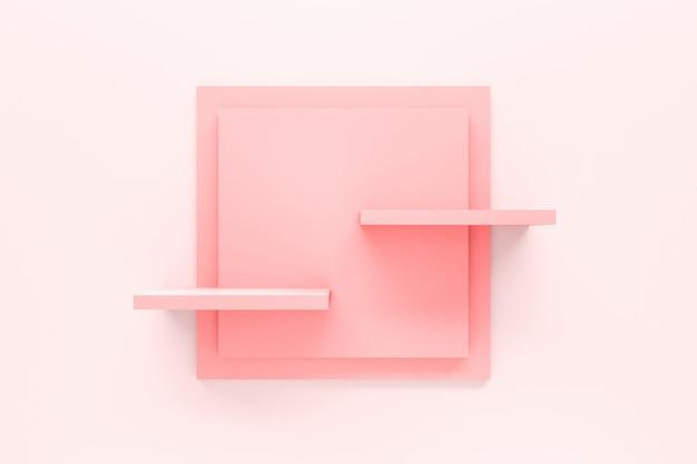 Modern pastel pink shelf Premium Photo