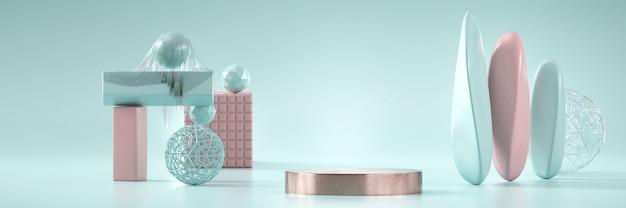 Современный пастельный подиум этапа продукта настоящий фон 3d-рендеринга.