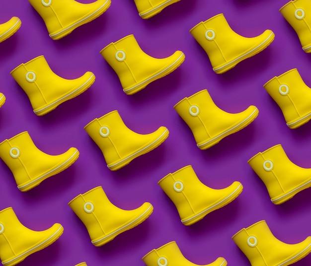 Современный узор желтых резиновых сапог на фиолетовом фоне