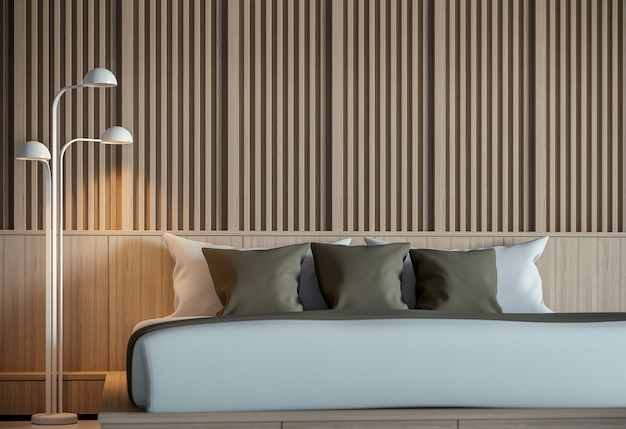 Modern peaceful bedroom interior 3d render minimalist stylethere are decorate wall with wood