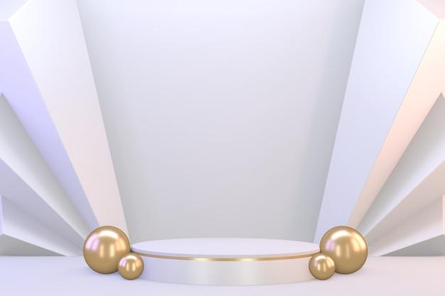化粧品のプレゼンテーション用のモダンな台座ホワイトとゴールド。 3dレンダリング