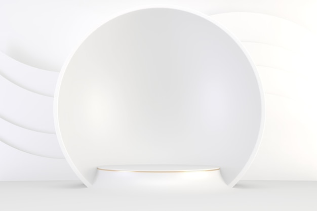 Modern pedestal white and gold for the presentation of cosmetic products