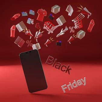 Telefono moderno per evento di vendita venerdì nero