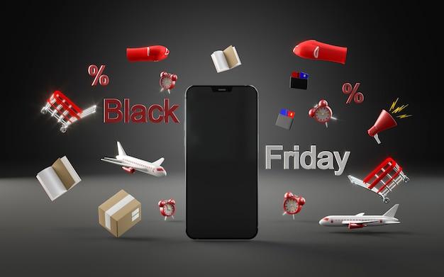 Telefono moderno per lo shopping del venerdì nero