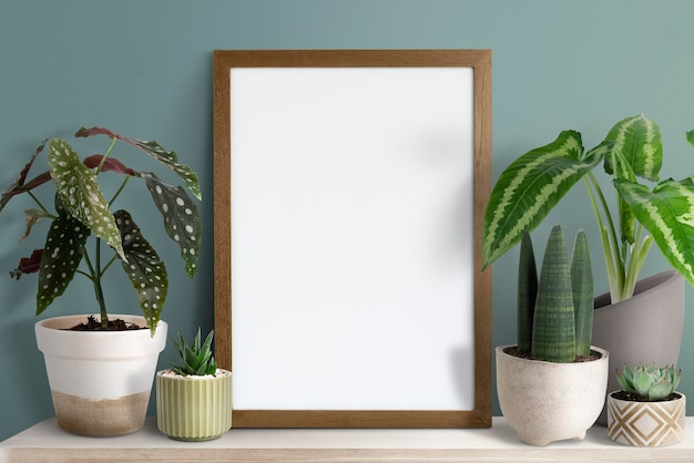 Modern picture frame on a shelf