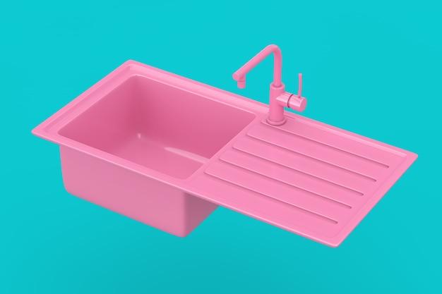 파란색 배경에 이중톤 스타일의 수도꼭지 모의 수도꼭지가 있는 현대적인 분홍색 주방 싱크대. 3d 렌더링