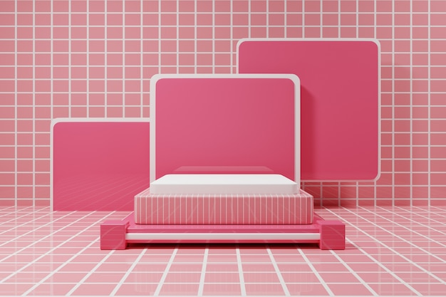 Современный розовый подиум мокап