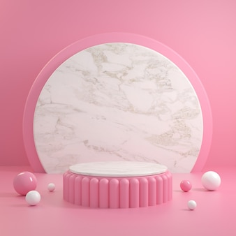 Modern pink podium with white top marble and background 3d render