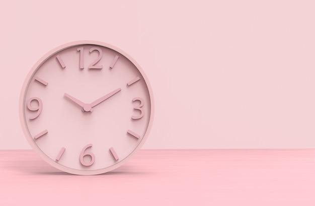 Modern pink  victory time clock on wooden floor background.