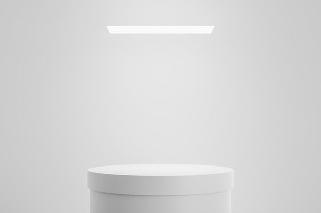 Modern podium or pedestal display with platform concept on white studio background. blank shelf stand for showing product. 3d rendering.