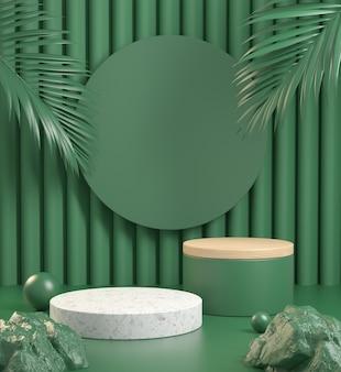 Modern podium with green natural concept. 3d render