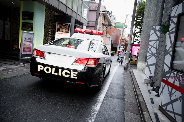 Modern police car on the streets