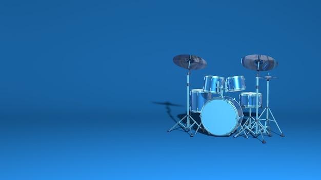 Modern pop rock drums set 3d rendering
