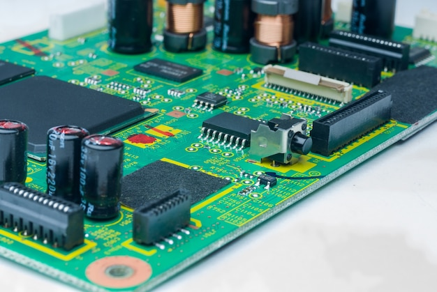 The modern printedcircuit board with electronic components