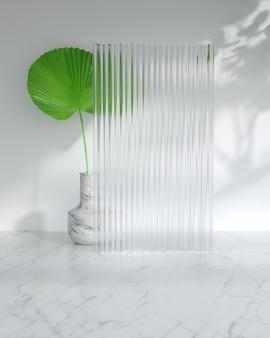 日光と葉の影で現代の製品ディスプレイ表彰台。