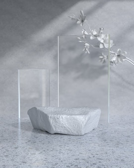 Modern product display podium with sunlight and leaf shadow