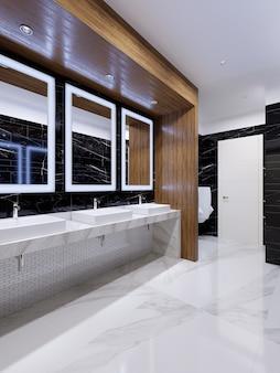 木製のニッチと黒い大理石の壁を備えた現代的なスタイルのモダンな公衆トイレ。 3dレンダリング